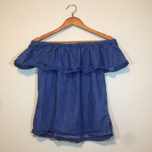 Denim off the shoulder ruffled blouse !